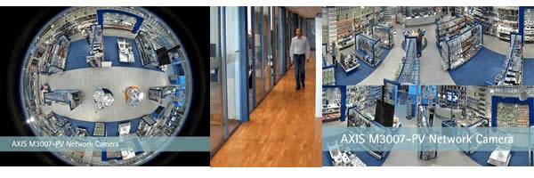 全方位カメラを店舗天井に設置した撮影と通路の監視のイメージ