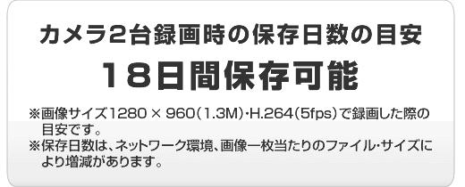 Viostorでカメラ2台録画時の保存日数の目安は18日間。(※1280×960/1.3M・H.264/5fpsで録画した際の目安です。)