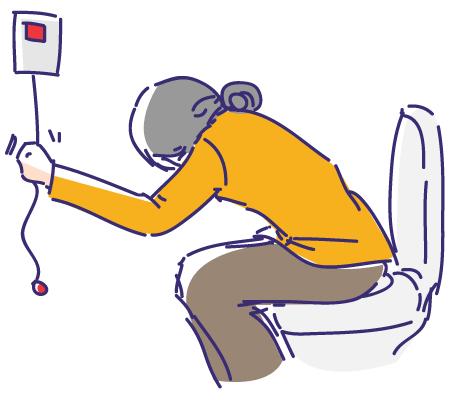 トイレや脱衣所に防水型押しボタン