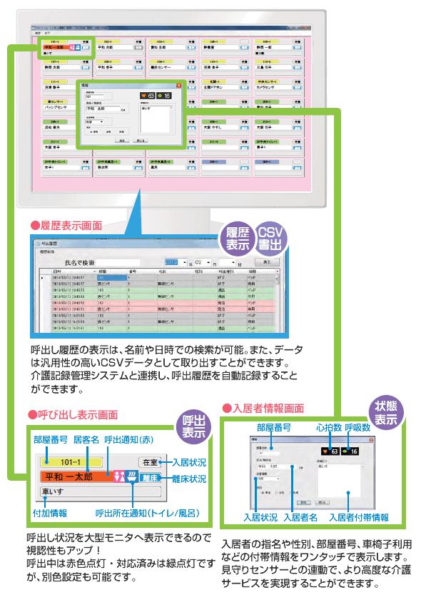 Yuiステーション管理システムの生活状態見守り画面で一括把握