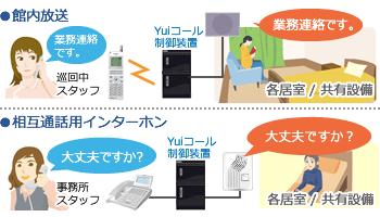 館内放送、相互通話用インターホンとの連携で会話が可能に