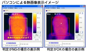 熱画像センサー CHINO TP-U0260ET サーモピクス愛のパソコンによる熱画像例